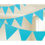 Caribbean Blue Paper Pennant Banners 4.5m - 6 PC