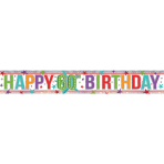 Multi Colour Happy 60th Birthday Holographic Foil Banners 2.7m - 12 PC