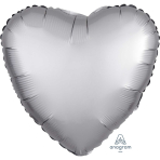 Platinum Heart Satin Luxe Standard HX Packaged Foil Balloons S15 - 5 PC
