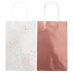 Metallic Rose Gold Paper Loot Bags - 6 PKG/8