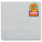 Silver Sparkle Paper Dinner Napkins 40cm 2ply - 12 PKG/50