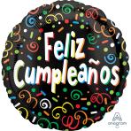 Feliz Cumpleaños Confetti Standard Foil Balloons S40 - 5 PC