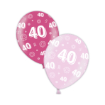 "40th Birthday Fab Fuchsia & Pretty Pink Printed Latex Balloons 11""/27.5cm - 25 PC"