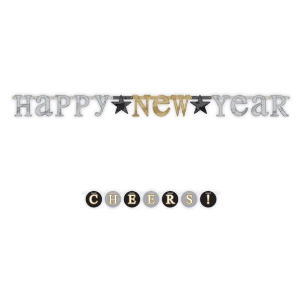 Happy New Year Letter Banner Multi Pack 6 PKG 4 Amscan