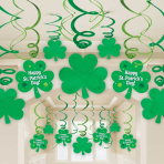 St. Patrick's Day Swirl Decorations - 4 PKG/30