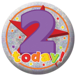 Happy 2nd Birthday Holographic Badges 5.5cm - 12 PKG