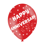 "Happy Anniversary Assorted Colours Latex Balloons 11""/27.5cm - 10 PKG/6"