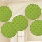 Kiwi Green Hot Stamped Paper Lanterns 12cm - 6 PKG/5