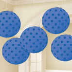 Bright Royal Blue Hot Stamped Paper Lanterns 12cm - 6 PKG/5
