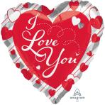"Love Red Heart & Silver Stripes Jumbo Foil Balloons 28""/71cm w x 28""/71cm h P32 - 5 PC"