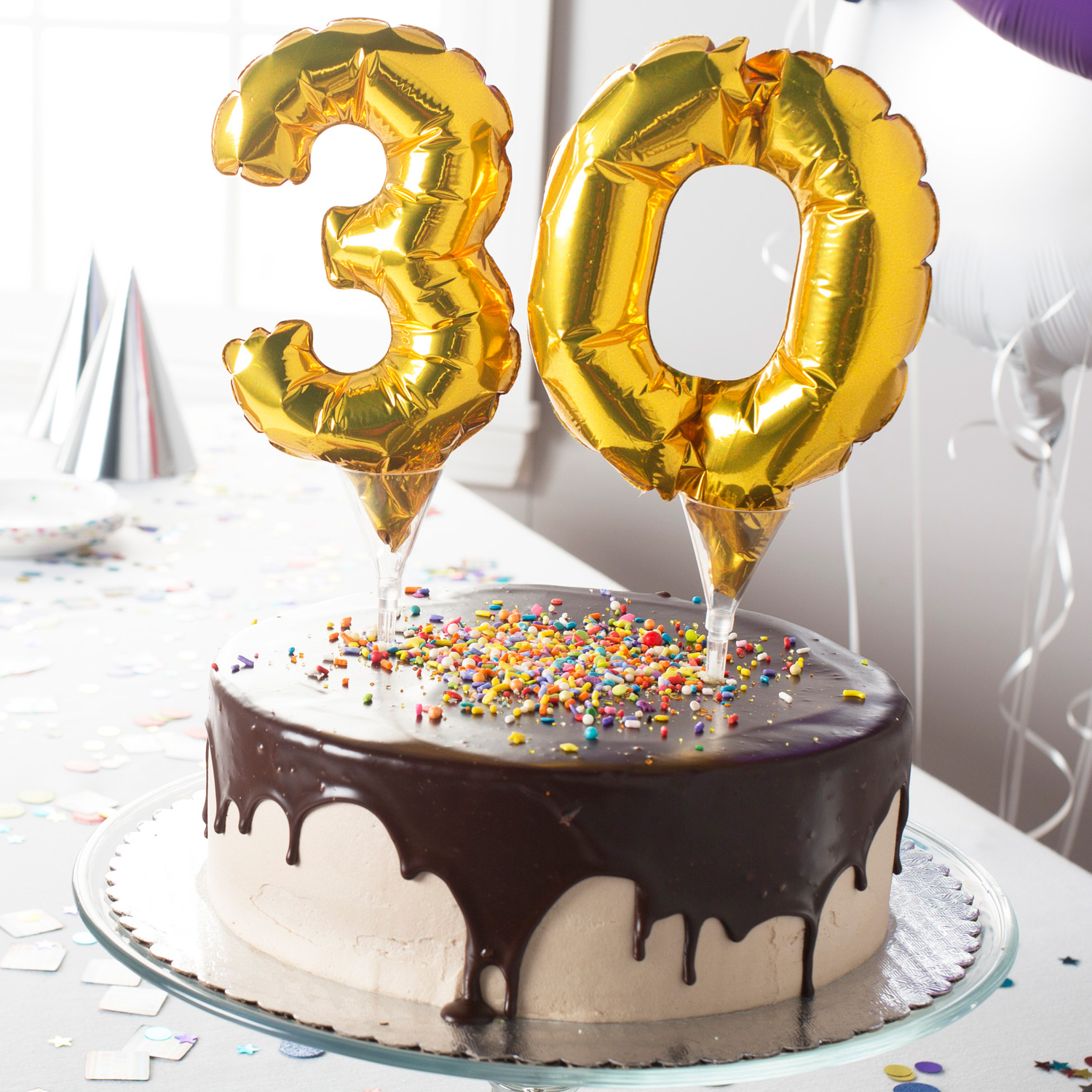 Gold Micro Number 0 Foil Balloon Cake Picks 6 15cm A04