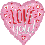 Love You White Dots Standard HX Foil Balloons S40 - 5 PC