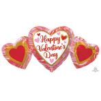 "Happy Valentine's Day Marble Heart Trio SuperShape Foil Balloons 34""/86cm w x 16""/40cm h P30 - 5 PC"