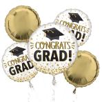 Congrats Grad Gold Glitter Foil Balloon Bouquets P75 - 3 PC