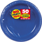 Bright Royal Blue Plastic Plates 28cm - 6 PKG/50