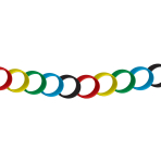 Great Britain Paper Chain with Five Colours  - Red/yellow/green/blue/black - 20cm - 6 PKG/100