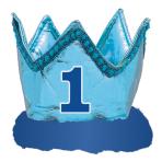 1st Birthday Blue Fabric Crown - 4 PC