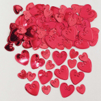 Loving Hearts Ruby Embossed Metallic Confetti 14g - 12 PKG