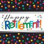 Happy Retirement Luncheon Napkins 33cm - 12 PKG/16