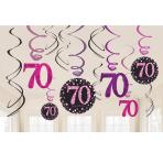 Pink Sparkling Celebration 70th Swirl Decorations - 12 PKG/12