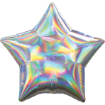 Silver Iridescent Star Standard HX Packaged Foil Balloons S40 - 5 PC