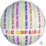 Feliz Cumpleaños Columns Standard Foil Balloons S40 - 5 PC