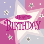 Pink Shimmer Happy Birthday Luncheon Napkins - 12 PKG/16