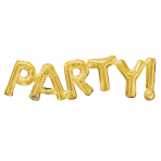 """Party!"" Phrase Gold SuperShape Foil Balloons 33""/83cm w x 9""/22cm h S55 - 5 PC"