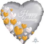 Anniversary Platinum Hearts Satin Standard XL Foil Balloons S40 - 5 PC