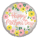 "Happy Mother's Day Spring Floral Satin Luxe Jumbo HX Foil Balloons 28""/71cm x 28""/71cm P32 - 5 PC"
