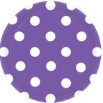 New Purple Dots Paper Plates 18cm - 12 PKG/8