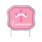 First Communion Pink Cake Topper 11cm x 10cm - 12 PC