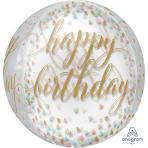 Happy Birthday Confetti Fun Orbz Foil Balloons G20 - 5 PC