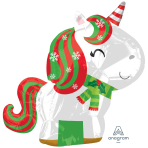 Christmas Unicorn Standard Junior Shape Foil Balloons S40 - 5 PC