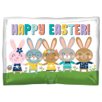 Happy Easter Bunnies Standard Foil Balloons S50 - 5 PC