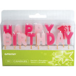 Happy 1st Birthday Girl Pick Candles - 6 PKG/14