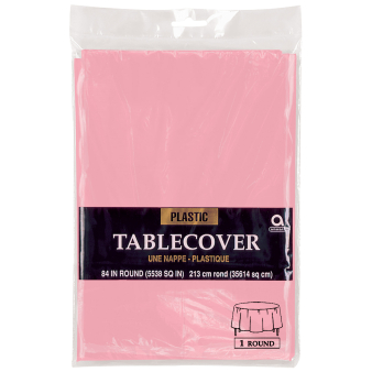 Baby Pink Plastic Round Tablecovers 2.13m - 12 PC