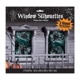 Haunted House Windows Silhouettes 1.65m x 85cm - 12 PKG/2