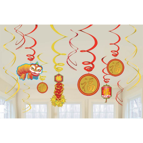 Chinese New Year Swirl Decorations - 6 PKG/12 : Amscan ...
