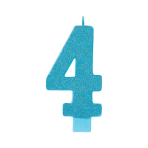 Giant Size Numeral Caribbean Blue Glitter Candles 13.3cm #4 - 12 PC