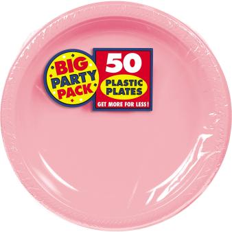 New Pink Plastic Plates 28cm - 6 PKG/50