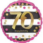 Pink & Gold 70th Birthday Holographic Standard Foil Balloons S40 - 5 PC