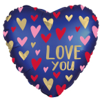 Love You Navy Standard HX Foil Balloons S40 - 5 PC