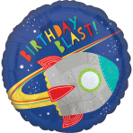 Blast Off Birthday Standard HX Foil Balloons S40 - 5 PC