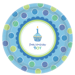 Sweet Little Cupcake Boy Paper Plates 26.6cm - 6 PKG/8 - Eco Party