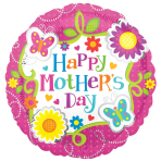 Happy Mother's Day Butterflies & Flowers Jumbo Foil Balloons P33 - 5 PC