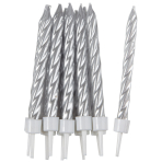 Silver Spiral Candles with Holders - 12 PKG/10