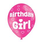 "Birthday Girl Pink Latex Balloons 11""/27.5cm - 10 PKG/6"