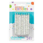 White Glitter Spiral Candles 8.2cm - 12 PKG/24