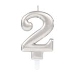 Silver Metallic Finish Candles #2 - 12 PC